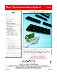 Alpha® Sign Communications Protocol - Tek Solutions