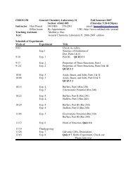 CHEM 158 General Chemistry Laboratory II Fall Semester 2007 ...