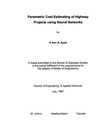 Parametric Cost Estimating of Highway Projects using Neural ...