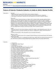 Future of Interior Products Industry in India to 2015: Market Profile