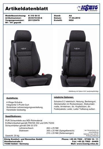K 310 S4 G - König Komfort- und Rennsitze GmbH