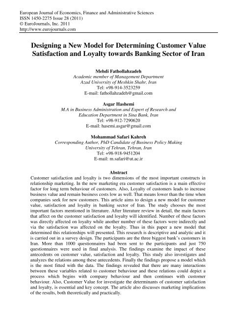 Designing a New Model for Determining Customer ... - EuroJournals