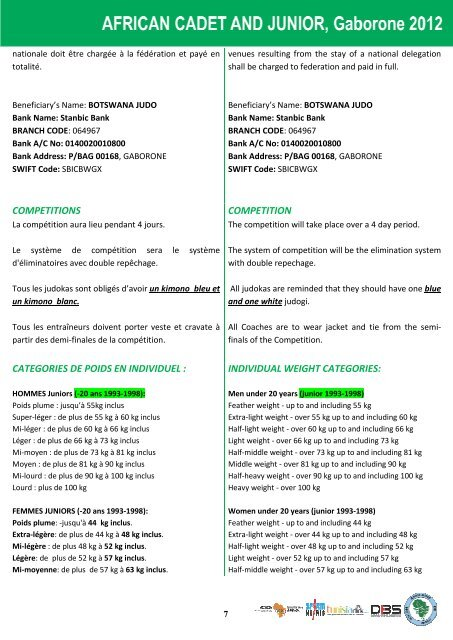 UAJ règlement du championnat junior Botswana 2012
