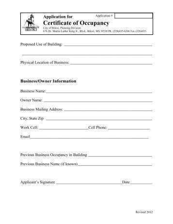 Certificate of Occupancy Application - City of Biloxi