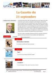 LA GAZETTE Informations Générales Sport Calendrier