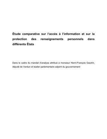 Étude comparative sur l'accès à l'information et sur la protection des ...