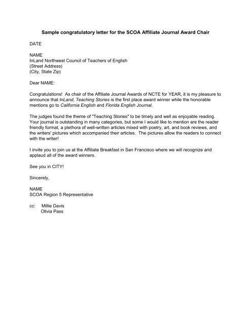 Sample Congratulations Award Letter from img.yumpu.com
