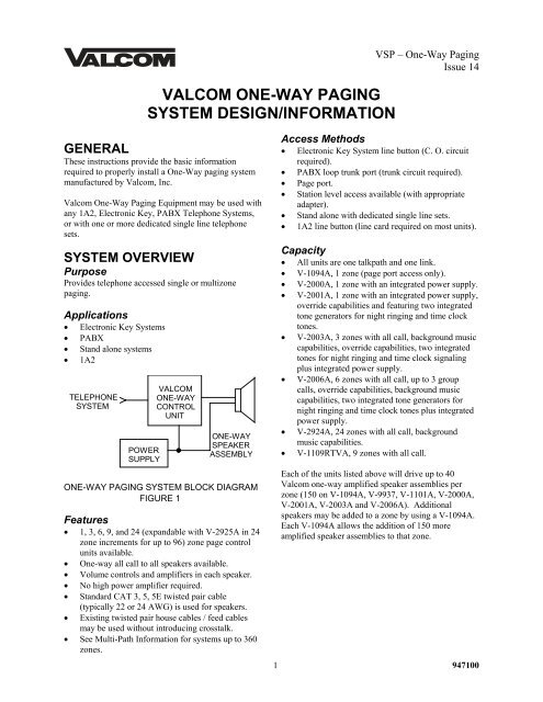valcom one-way paging system design/information - Accu-Tech on bogen paging systems, industrial paging systems, cisco phones systems,