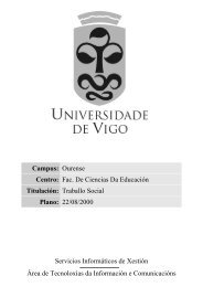 Extracto Informativo dos Planos de Estudio - Universidade de Vigo