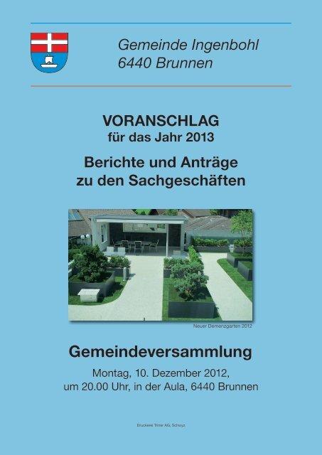 Voranschlag 2013 - Brunnen