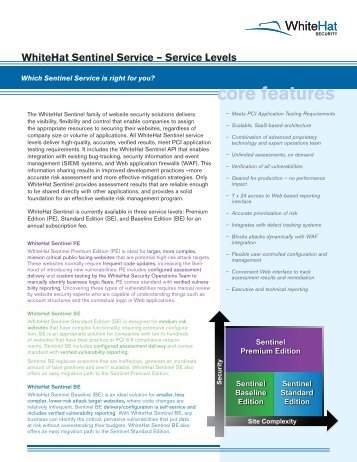 Service Levels - WhiteHat Security