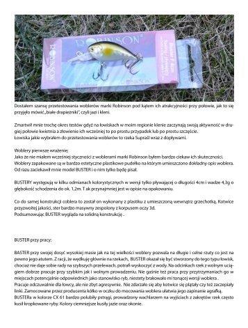 Opis testu woblerów jaziowo-kleniowych Robinson Ireneusz Dudar