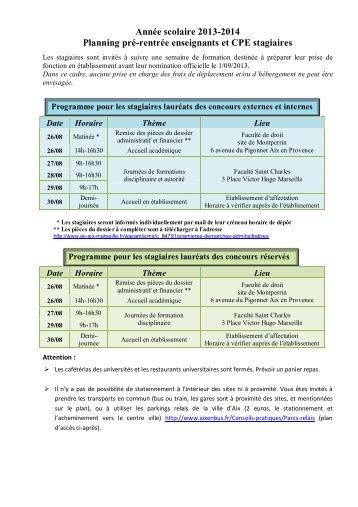 Année scolaire 2013-2014 Planning pré-rentrée enseignants et ...