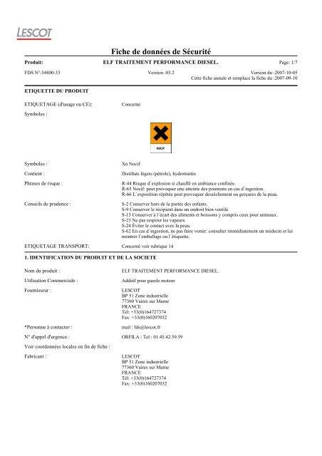 elf traitement performance diesel. - Accueil - Société - Produits ...