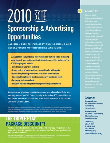 Sponsorship & Advertising Opportunities - SCTE