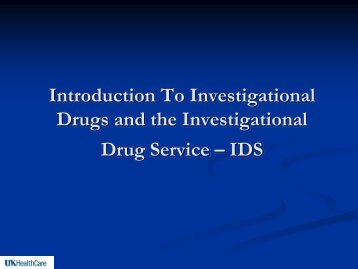 introduction to investigational drugs - Research - University of ...
