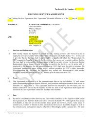 Training Services Agreement - Sample - Export Develoment ... - EDC