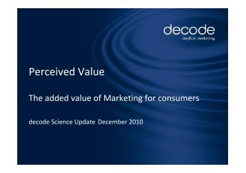 Perceived Value - Science Update - decode Marketingberatung