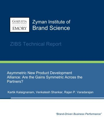 Asymmetric New Product Development Alliance: - Emory Marketing ...