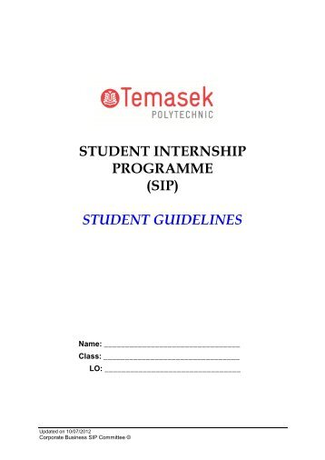 (sip) student guidelines - Temasek Polytechnic