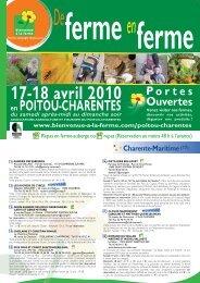 17-18 avril 2010 en POITOU-CHARENTES - Bienvenue à la Ferme
