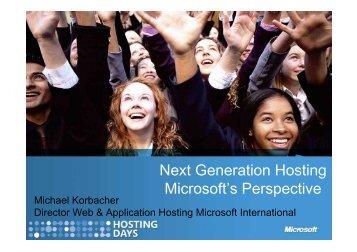 Next Generation Hosting Microsoft's Perspective - HOSTING-PRO ...