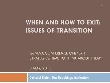 Donald Kohn's Geneva presentation - Vox