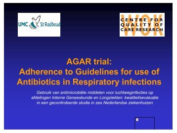 AGAR trial: Adherence to Guidelines for use of Antibiotics in ... - SWAB