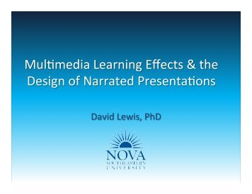 Multimedia Learning Effects and the Design of Narrated ... - 1