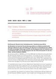 SVEK / ASCH / ASCA - INFO 2 / 2009 Inhalt / Contenu / Contenuto