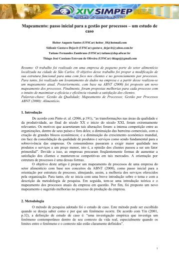passo inicial para a gestão por processos – um estudo de caso