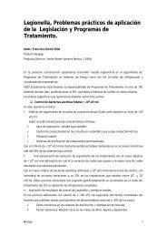 Legionella, Problemas prácticos de aplicación de la ... - CRESCA