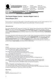 SWS annual report 2011 - Suomen Wagner-Seura
