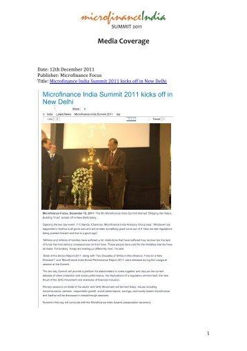 Media Coverage - Microfinance India