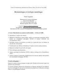 Biostatistique et écologie numérique - Laboratoire de Pierre Legendre