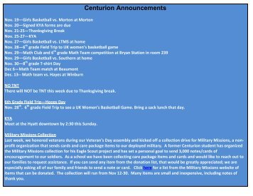 Centurion Announcements