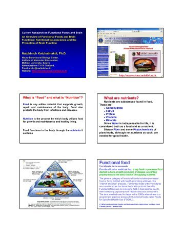 Functional food - Neuroscience.mahidol.ac.th - Mahidol University