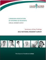 Summary of Key Findings - CAIR 2012 National Resident Surve