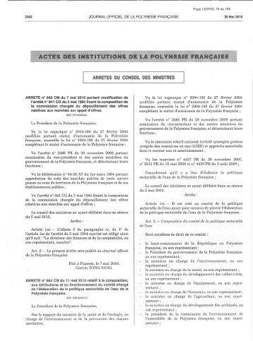 ARRETES DU CONSEIL DES MINISTRES - Direction de l ...