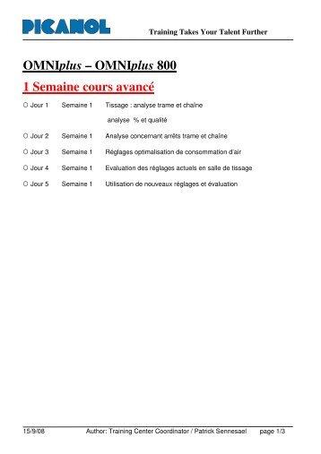 OMNIplus – OMNIplus 800 1 Semaine cours avancé - Picanol