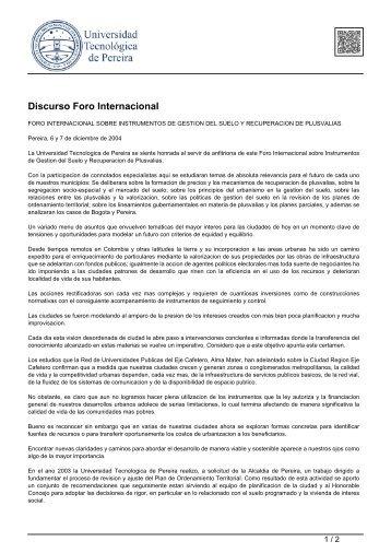 Discurso Foro Internacional - Universidad Tecnológica de Pereira