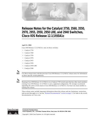 Cisco Catalyst 3750 Series Switches manual