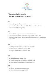Prix culturels Leenaards Liste des lauréats de 2002 à 2011
