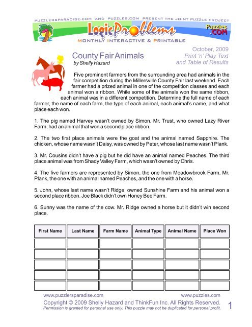 County Fair Animals - Puzzlers Paradise