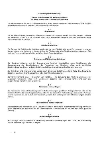 Friedhofgebührensatzung - Pastoralverbund Oene Elspe Tal
