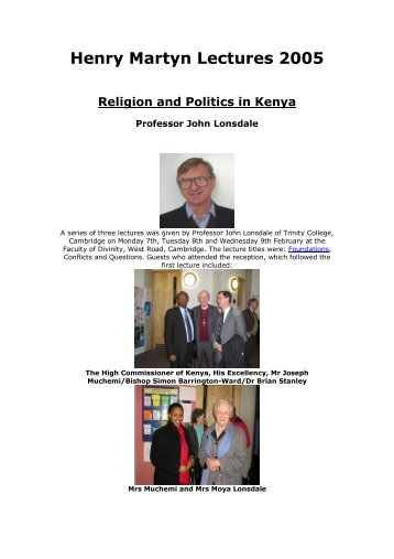Religion and Politics in Kenya - Henry Martyn Centre