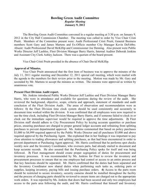 January 9, 2012 (Regular Meeting) - City of Bowling Green, KY