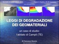 leggi di degradazione dei geomateriali - Romolo Di Francesco