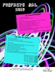 Forfaits Bal 2014 menu 3 services - Les Hôtels Jaro