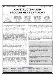 construction and procurement law news - Bradley Arant Boult ...